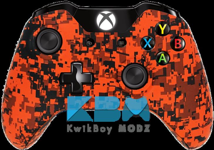 Custom Orange Digital Camo Xbox One Controller