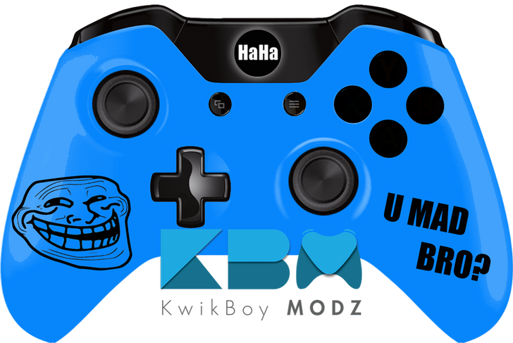 Custom Blue Troll Face Xbox One Controller