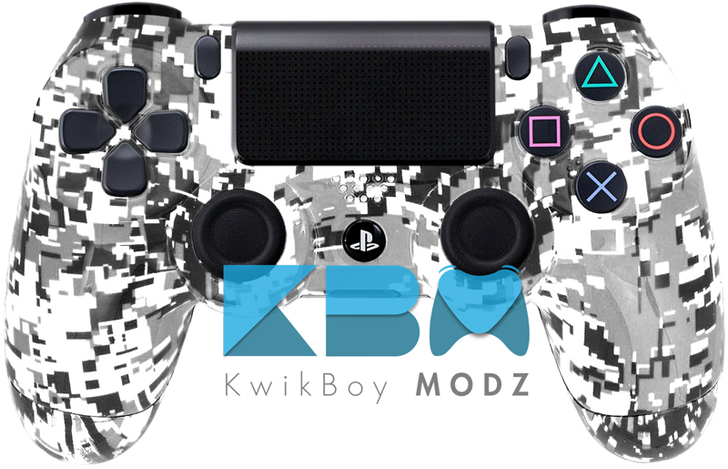 Custom White Digital Camo PS4 Controller