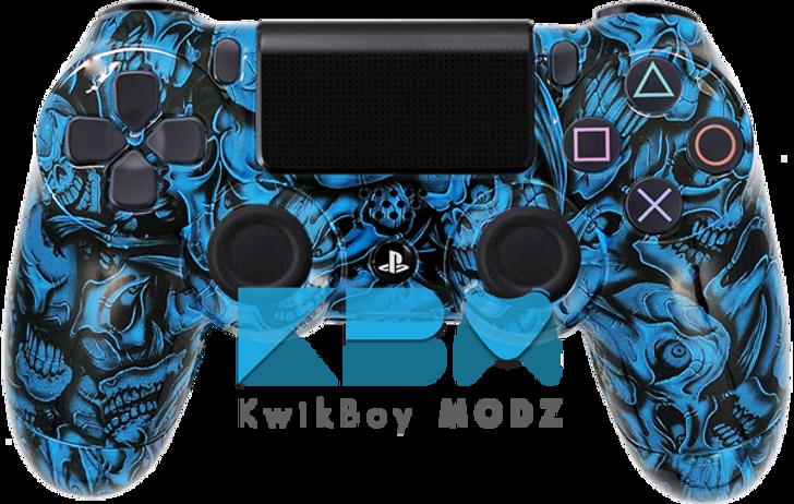 Custom Blue Insanity Skulls PS4 Controller