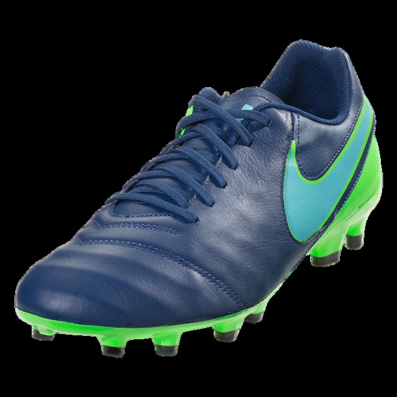 new style bade5 c92c0 Tiempo Genio II Leather FG - Coastal Blue Polarized Blue Rage Green  (112917) - ohp soccer