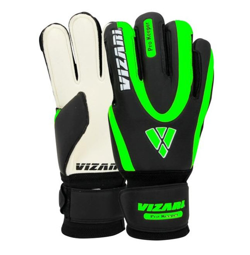 Vizari Pro Keeper Finger Saver Goalkeeper Gloves - Black/Green
