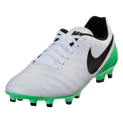 Nike Tiempo Genio II Leather FG - White/Black/Electro Green(41917)