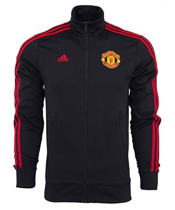 adidas Manchester United 3 Stripe Track Jacket - Black/Red SD (123119)