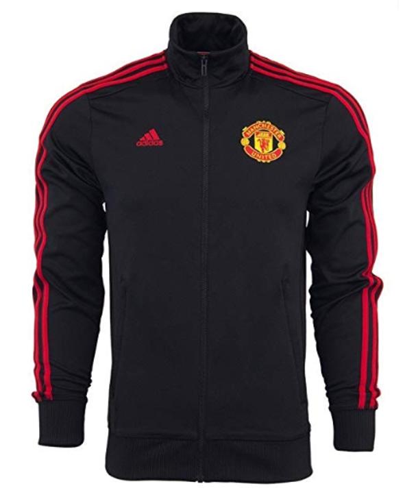 adidas Manchester United 3 Stripe Track Jacket - Black/Red SD (090120)