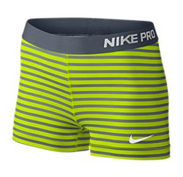 Nike Wmns Pro 3 Stripe Short - Grey/Volt