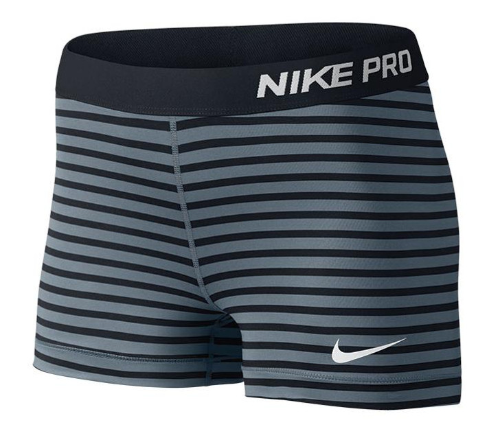 Nike Wmns Pro 3 Compression Striped Shorts - Black/Gray