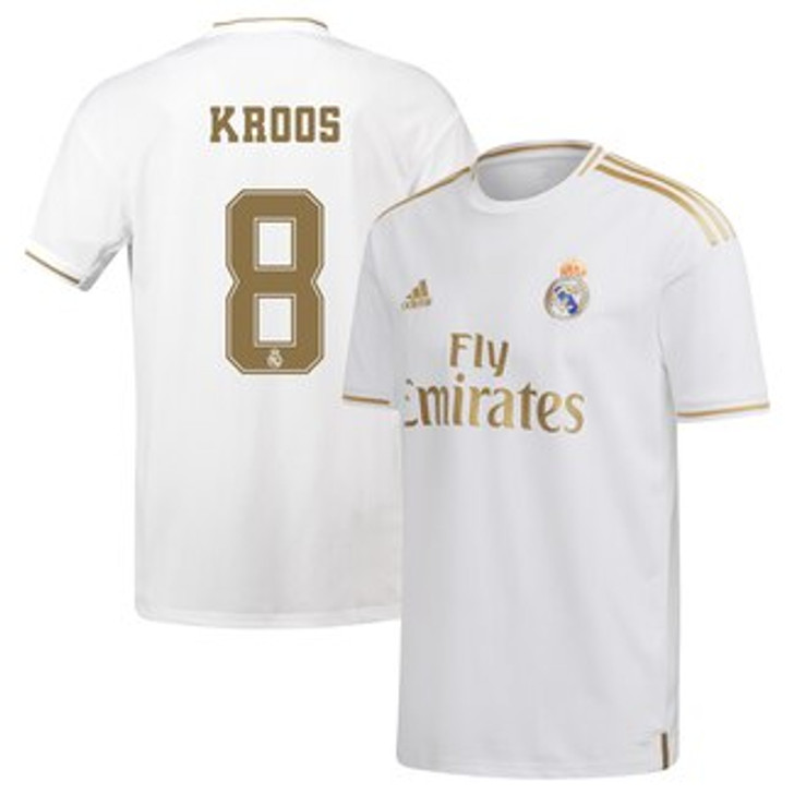 adidas Real Madrid 19/20 Home Jersey Toni Kroos - White/Gold SD (123119)