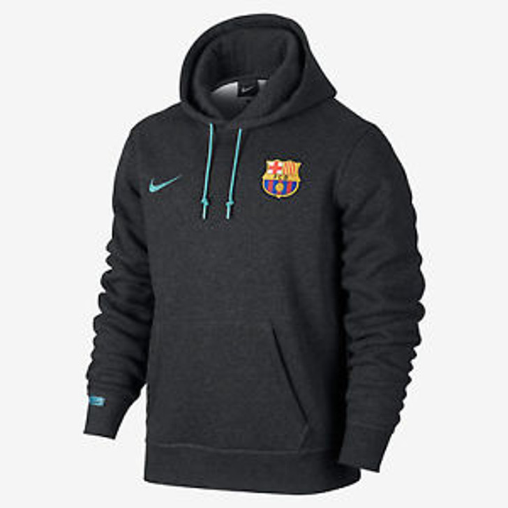Nike Barcelona Core Hoodie - Black Heather/Light Current Blue SD (090120)
