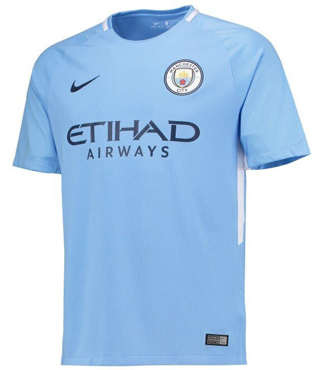 Nike Youth Manchester City 17/18 Home Jersey - Light Blue- RC (072520)