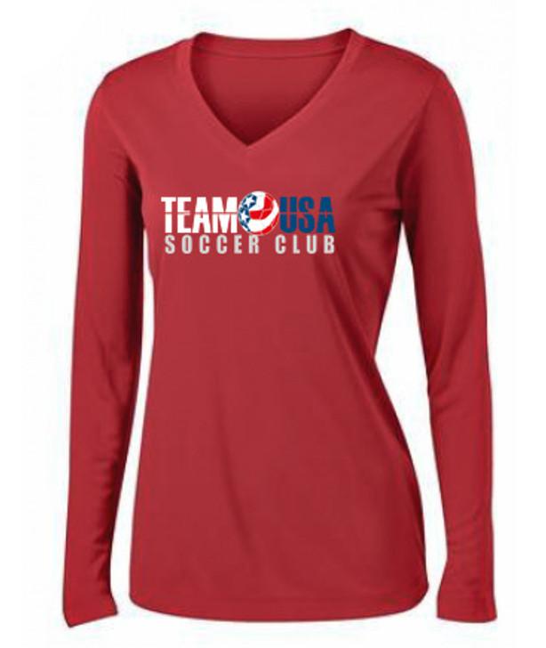 Team USA Women's LS Coach's Tee - Red