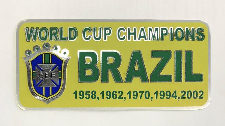 Brazil World Cup Champions Metal Sticker - Yellow/Green (52818)