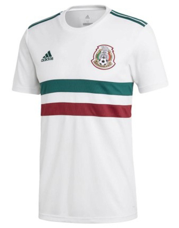 adidas Mexico 2018 Away Jersey - White/Collegiate Green/Collegiate Burgundy RC (012620)