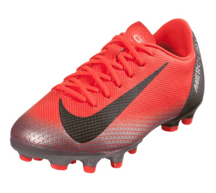 Nike Junior Mercurial Vapor 12 Academy GS CR7 FG/MG - Bright Crimson/Black/Chrome/Dark Grey