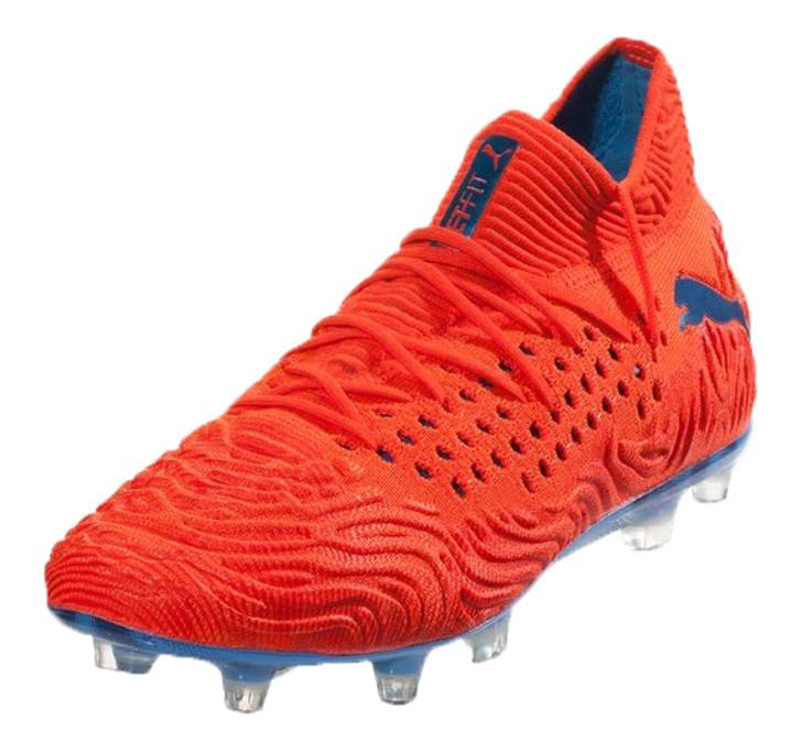 PUMA FUTURE 19.1 FG/AG Soccer Cleat - Red Blast/Blue Azur (061819)