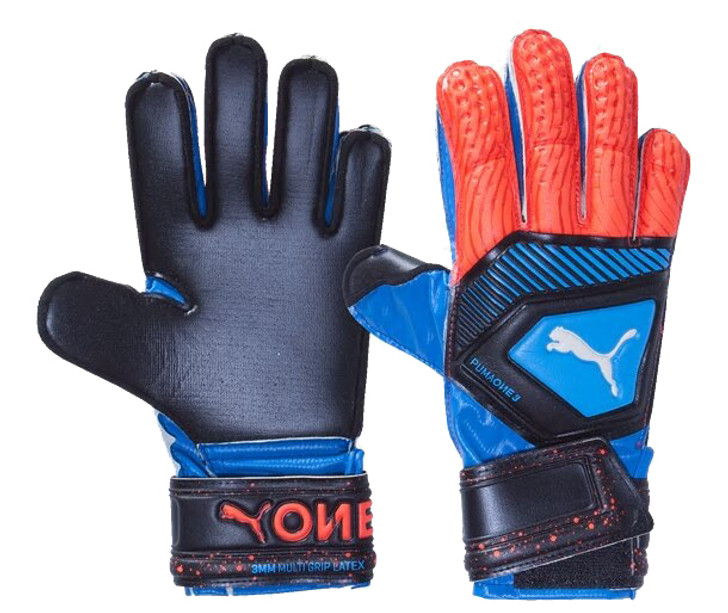Puma One Protect 3 JR GK Gloves - Bleu Azur/Red Blast/Black (011520)