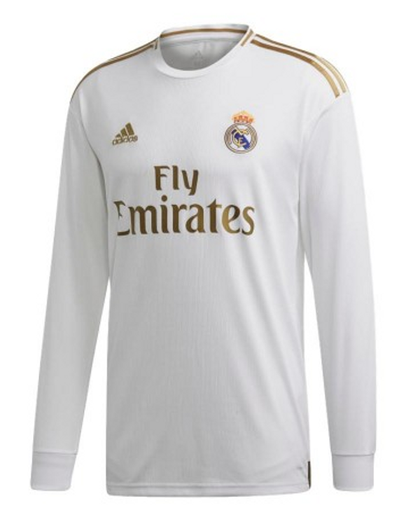 Adidas Real Madrid 19/20 Home Long Sleeve Jersey - White/Gold- SD (051220)