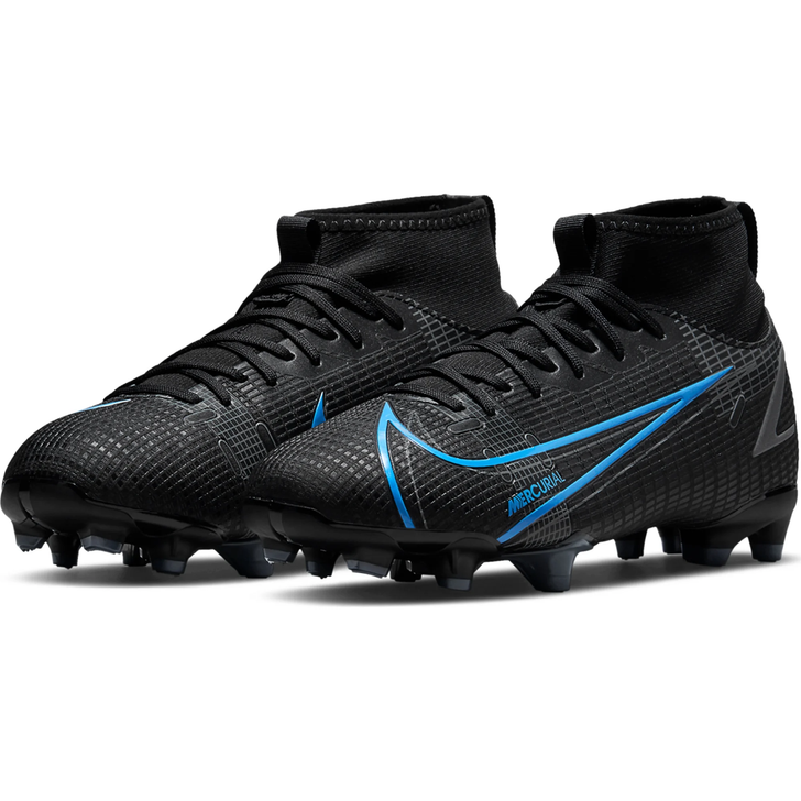 Nike Junior Mercurial Superfly 8 Academy FG/MG Soccer Cleat - Black/Iron Grey/University Blue (100821)