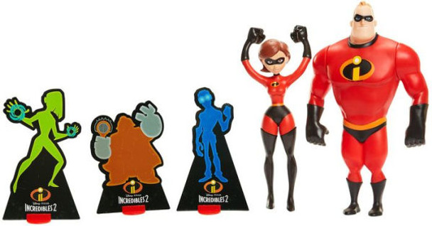Mr. Incredible launches Elastigirl to save the day, just like in the movie! 12 inch scale figures 45 plus sounds and phrases Includes one Mr. Incredible, one Elastigirl figure that stretches and three targets. 2 AAA batteries required (included) Suggested for Ages 4+ Disney Pixar's INCREDIBLES 2 brings back everyone's favorite family of superheroes in an exciting, hilarious, and heartfelt super-sequel. This new chapter sees Mr. Incredible, Elastigirl, Violet, Dash, and Jack-Jack encounter a brand new nemesis that puts the family's powers to the ultimate test. INCREDIBLES 2 is the follow-up to the 2004 hit animated feature film The Incredibles, about the adventures of a family with superpowers.   Power Couple is the Ultimate Team! Use Mr. Incredible's super strength to slingshot Elastigirl into the fight and save the city! Load, Pull Back, and Go! Move Mr. Incredible's arms to activate sounds. Lock Mr. Incredible's arms into position to launch Elastigirl.
