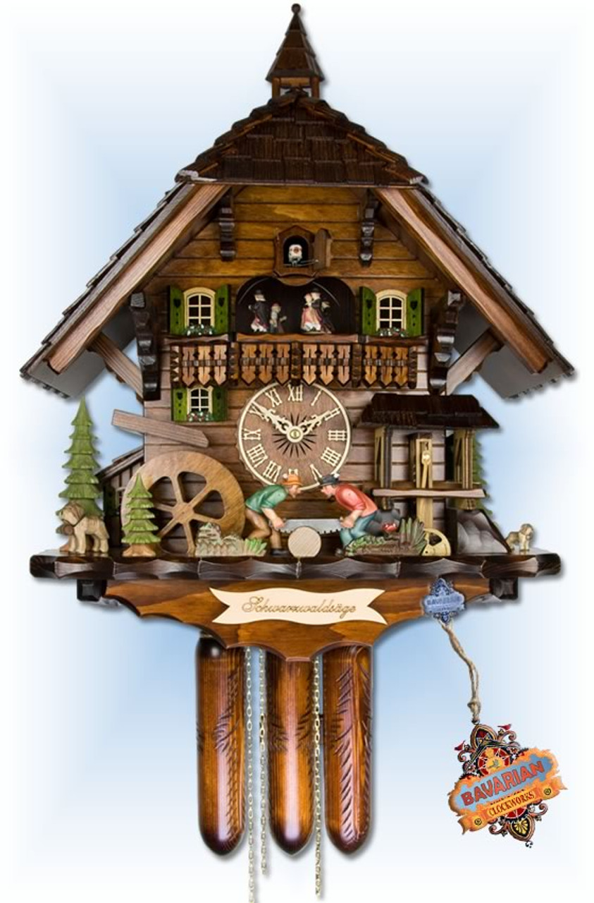 Kammerer Uhren Hekas Cuckoo Clock Black Forest House with Moving Wood sawers and Mill Wheel