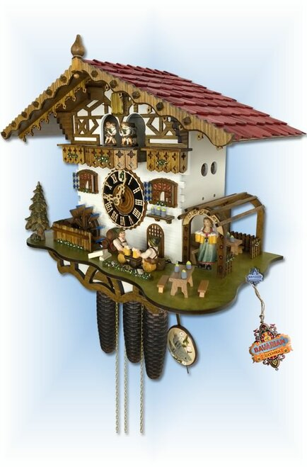 Hones | 8664t-zenzi | 14''H | German Biergarten | Chalet style | cuckoo clock | right view