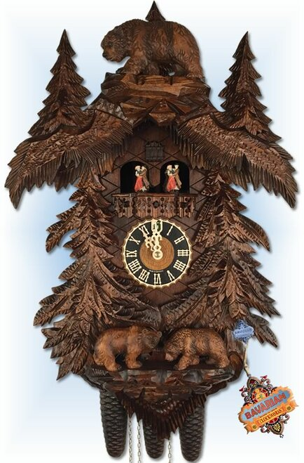 Hones Bears in Forest | 25''H Hard Carved German Cuckoo Clock | Front View