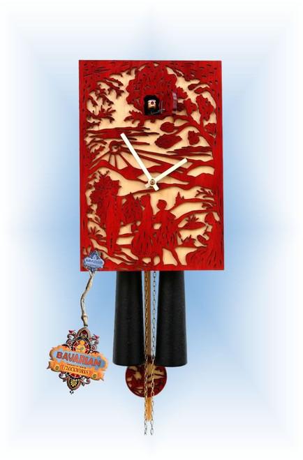 Rombach & Haas | sn34-3 | 11''H | Red Silhoutte 2 | Modern | cuckoo clock | full view
