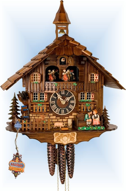 Hones | 638t | 16''H | Kissing Couple | Chalet style | cuckoo clock | full view