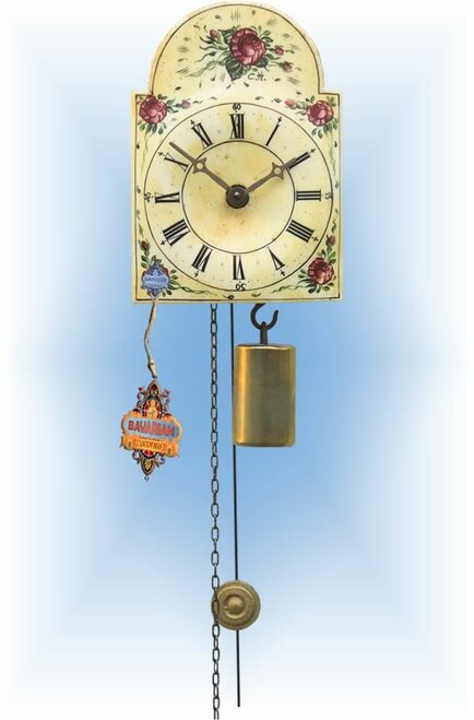 Rombach & Haas | 195 | 5''H | Flower Collage | Shield style Cuckoo Clock | jockele clock | full view