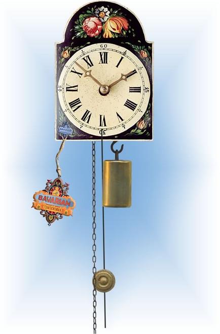 Rombach & Haas | 185b | 5''H | Black Floral | Shield style Cuckoo Clock | jockele clock | full view