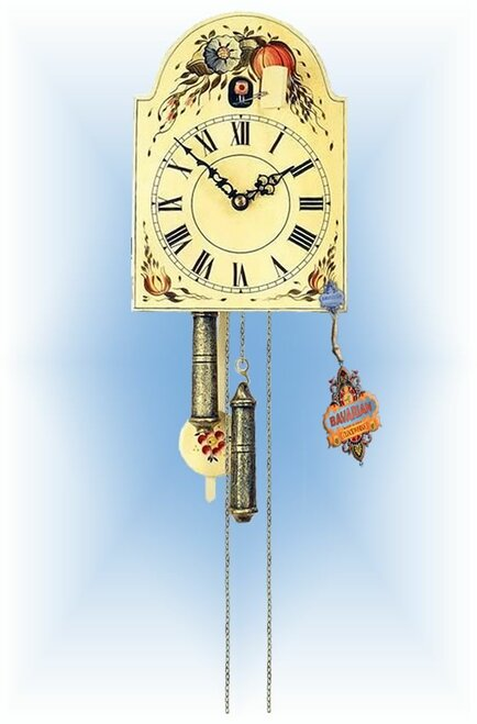 Rombach & Haas | 1270 | 9''H | Flowering Harvest | Shield style Cuckoo Clock | painted clock | full view