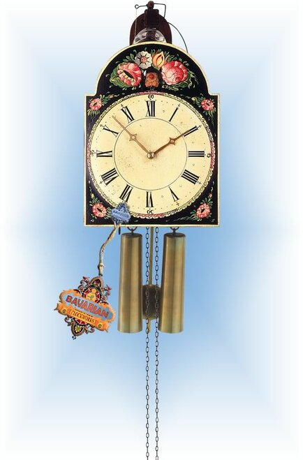 Rombach & Haas | 3402 | 13''H | Black Floral | Vintage | Shield Style cuckoo clock | full view