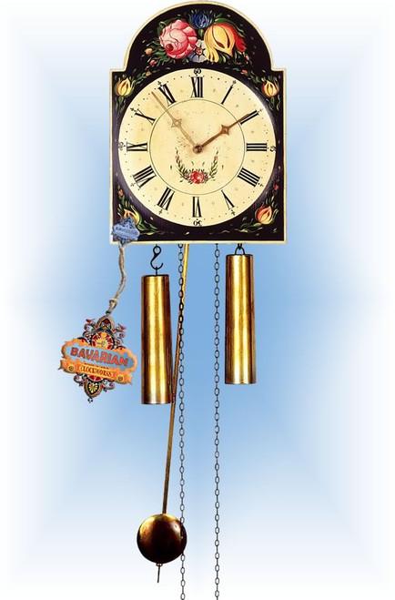 Rombach & Haas | 7285b | 10''H | Budding Black | Shield style Cuckoo Clock | painted clock | full view