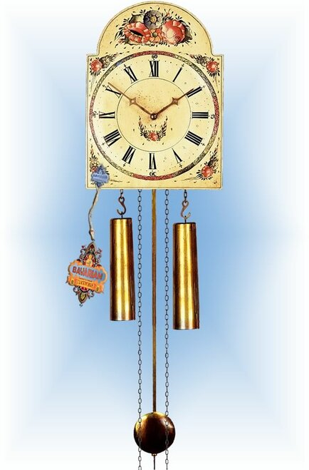 Rombach & Haas | 7291r | 10''H | Aged Floral | Shield style Cuckoo Clock | painted clock | full view
