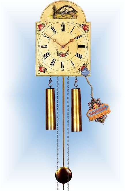 Rombach & Haas | 7316 | 14''H | Farmhouse Floral | Shield style | painted clock | full view