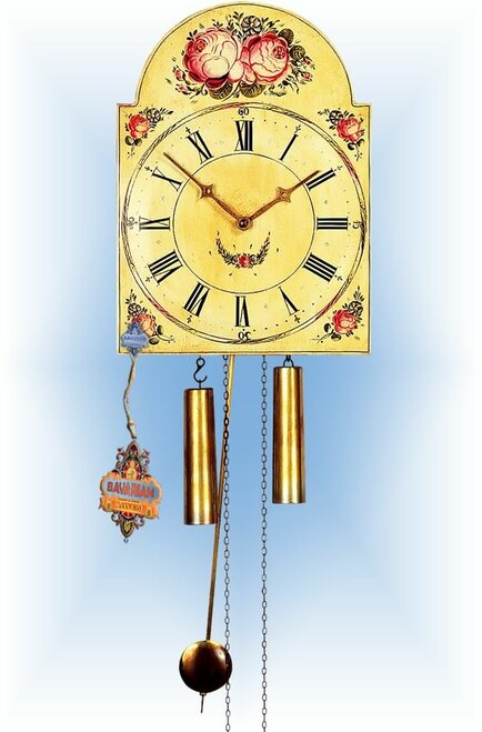 Rombach & Haas | 7374 | 15''H | Two Flower | Shield style Cuckoo Clock | painted clock | full view