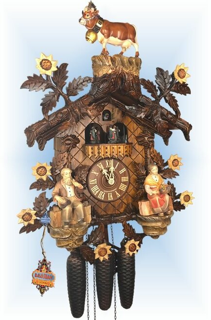 Cuckoo Clock chalet style 20 inch Cattle Drive by August Schwer