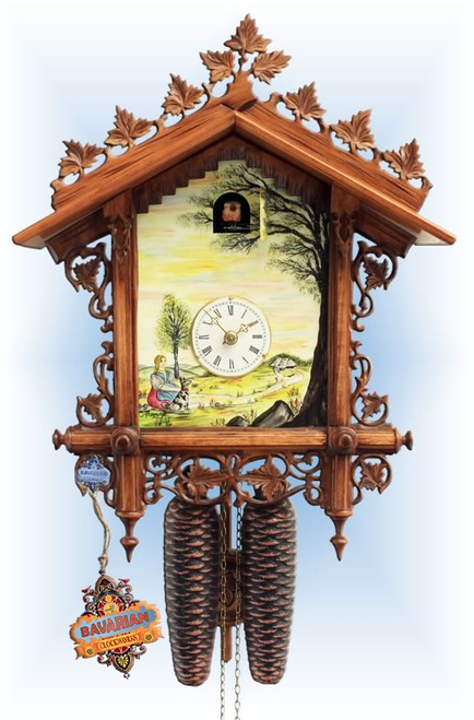 Rombach & Haas | 3416 | 18''H | Scenic Bahnhausle Shield | Vintage | cuckoo clock | full view