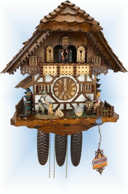 Schneider | 18''H | Spinning Wheel | Chalet style | cuckoo clock | full view