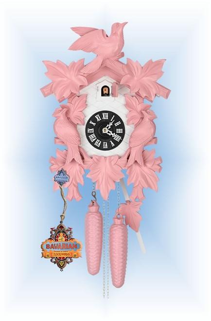 Hekas | 1606P | 8''H | Pink Mod | Modern | cuckoo clock | full view