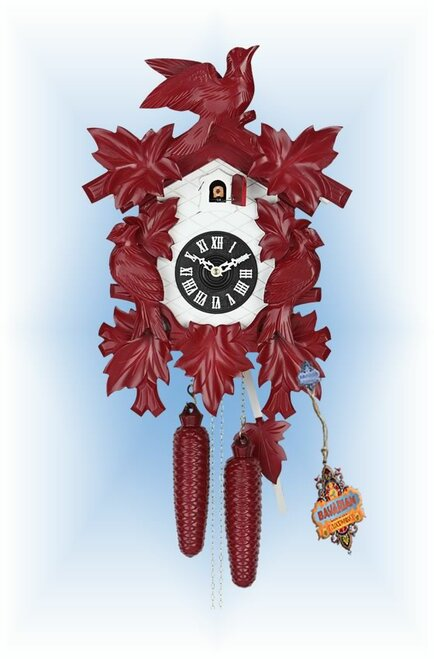Hekas | 1606R | 8''H | Red Mod | Modern | cuckoo clock | full view