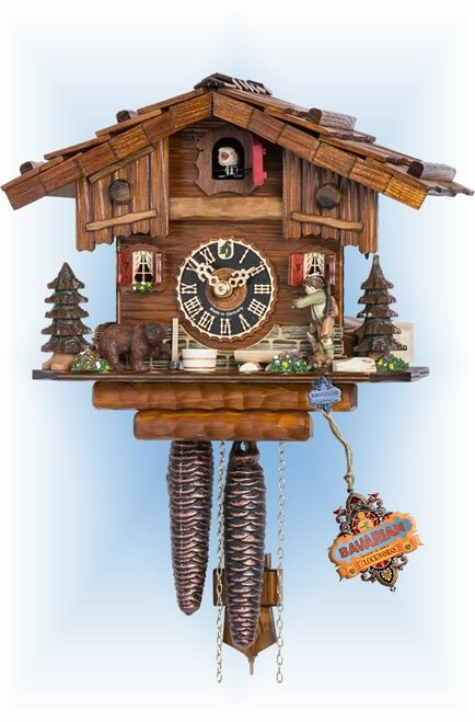 Hones | 151 | 8''H | Lone Hunter | Chalet style | cuckoo clock | full view