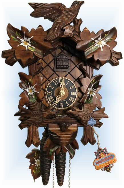 Cuckoo Clock carved style 13 inch Nesting Edelweiss by Hones - 1