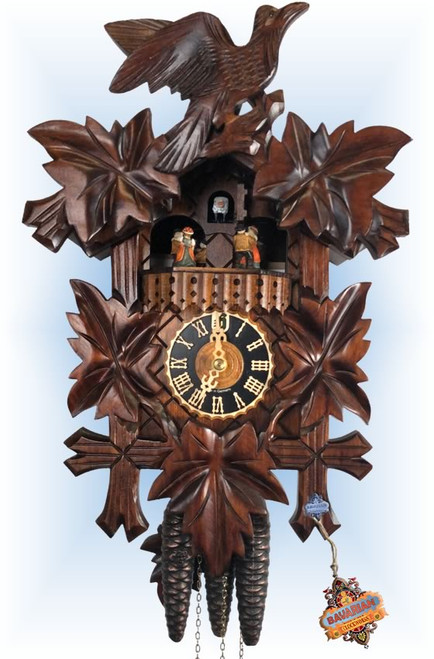 Cuckoo Clock carved style musical 14 inch Five Leaf by Hones - 1