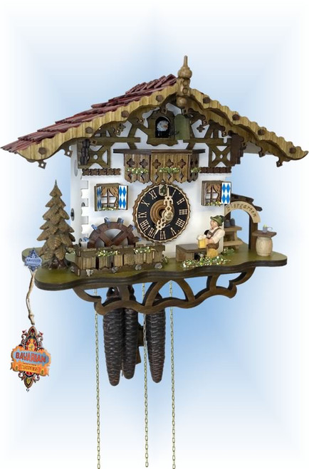 Cuckoo Clock chalet style 11 inch Swiss Biergarten by Hones - slight angle