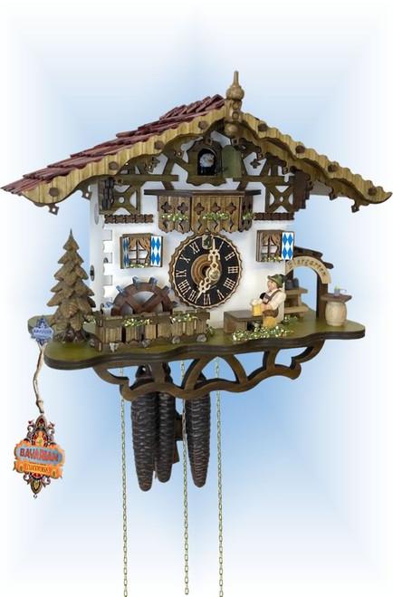 Cuckoo Clock chalet style 11 inch Swiss Biergarten by Hones - slight angle