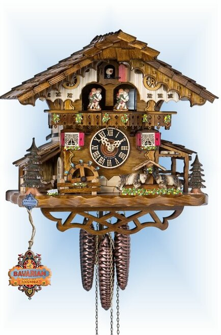 Hones | 694t | 13''H | Fighting Goat | Chalet style | cuckoo clock | full view