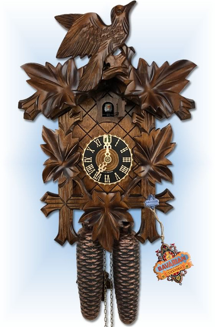 Hones | 800-3 | 14''H | Bird in Leaves | Traditional | cuckoo clock | full view