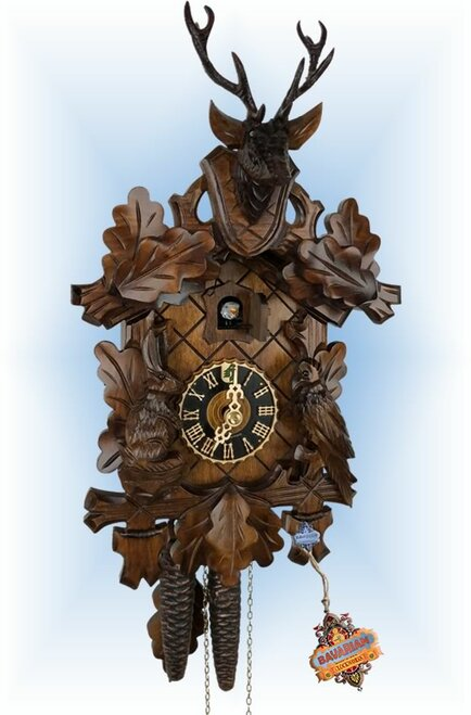 Cuckoo Clock carved style 12 inch Buck Head by Hones