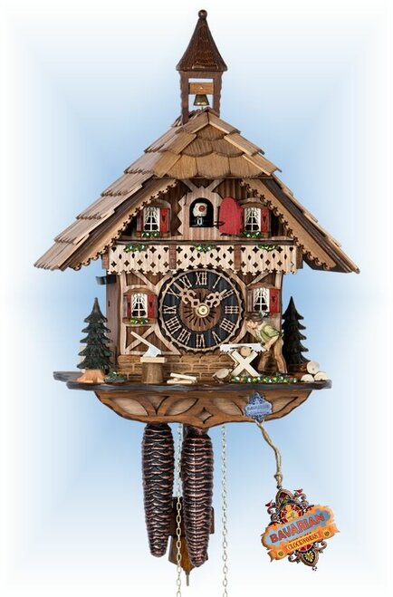 Hones | 1258 | 13''H | Classic Woodsman | Chalet style | cuckoo clock | full view